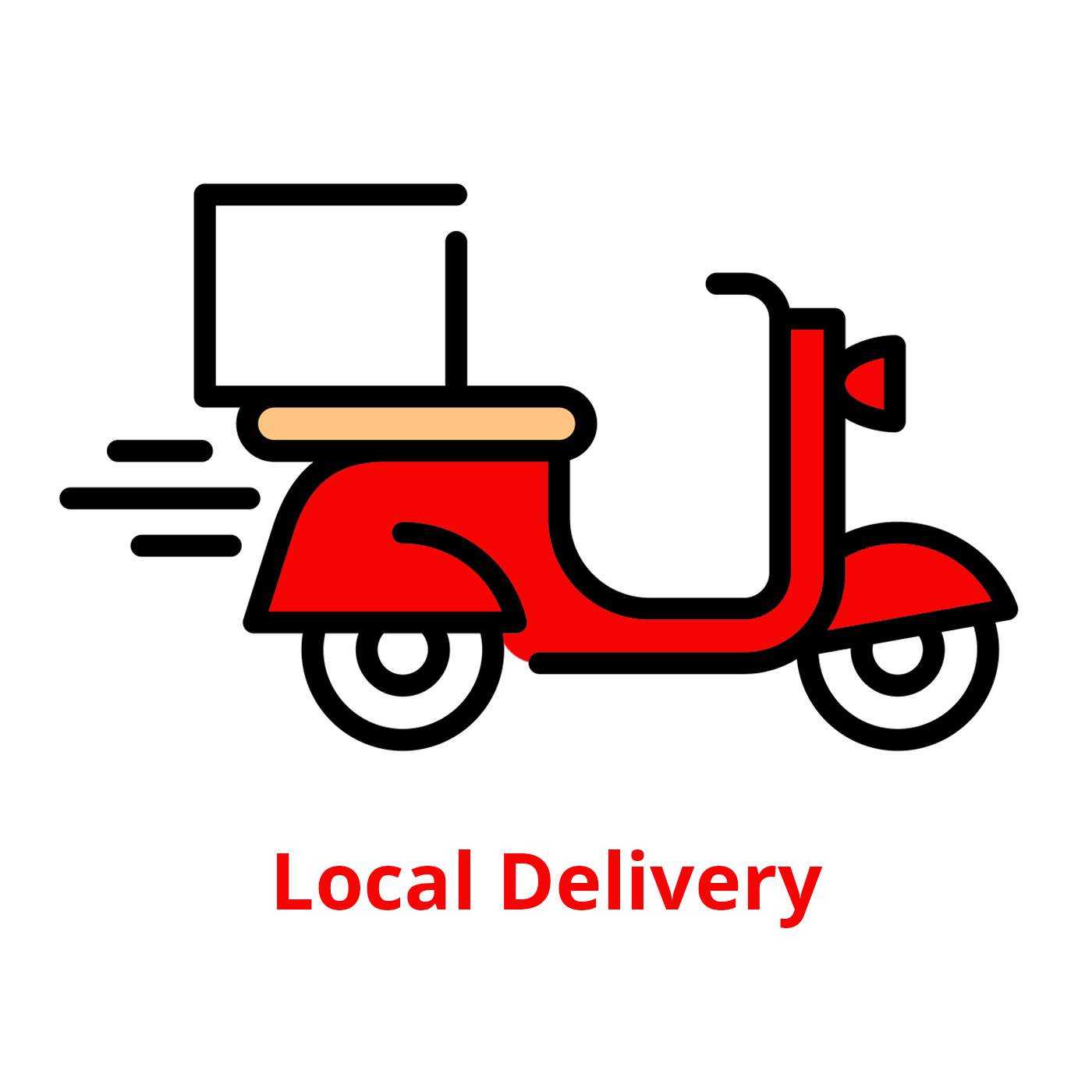 Vector food delivery bike icon template. Line fast courier motorcycle illustration. Scooter with orders logo. Graphic moped symbol background
